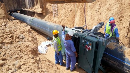 Welding of 1000mm HDPE Pipe for Potable Water Transmission